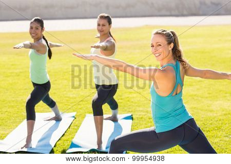 Portrait of yoga teacher and sporty women attending yoga class in parkland