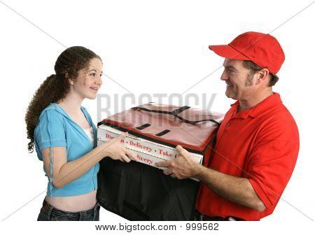 Pizza feliz al cliente