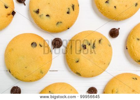 Chocolate Cookie Background / Chocolate Cookie / Chocolate Cookie On Wooden Background