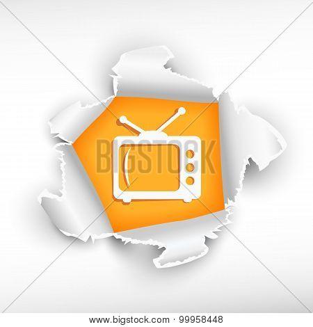 Retro Tv And Breakthrough Paper Hole