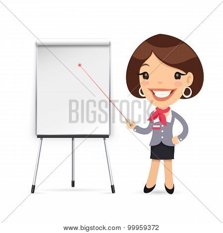 Female Manager Gives a Presentation or Seminar