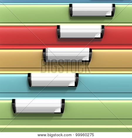 Colored files with copy space available on blank stamps
