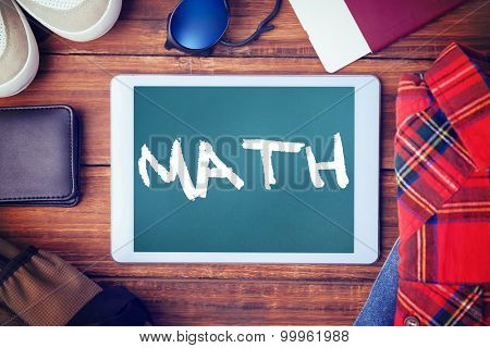 The word math and differents objects using every days against teal, blue