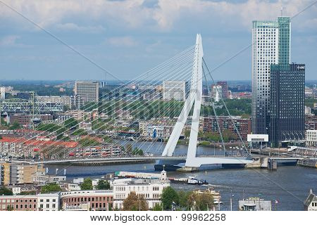 Aerial view to Erasmus bridge and the city of Rotterdam, Netherlands.