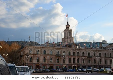 Tbilisi,Georgia-March,2 2015: City administration building in the sunset. Tbilisi, Georgia