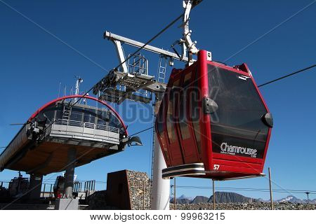Cabin at the top cable car station