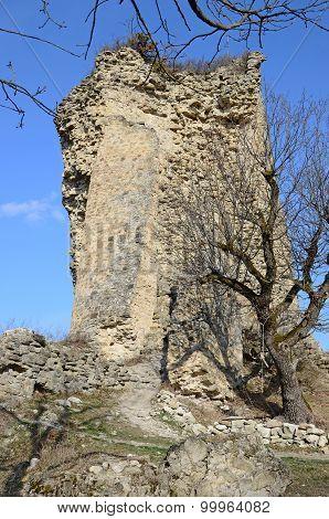 The tower of ruined Ujarma fortress, III century BC Georgia