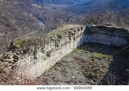 Ruins of ancient Ujarma fortress above Iori River. Kakheti, Georgia