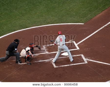 Philadelphia Phillies Ryan Howard Swings At Incoming Pitch