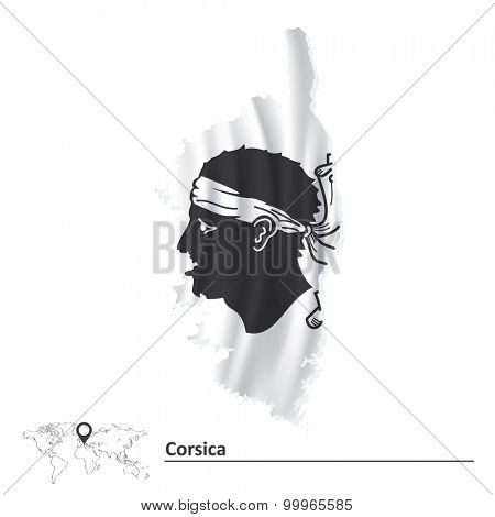 Map of Corsica with flag - vector illustration