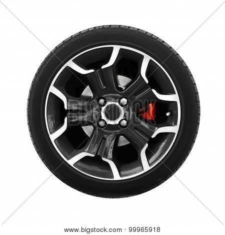 Wheel Of Modern Car Isolated On White