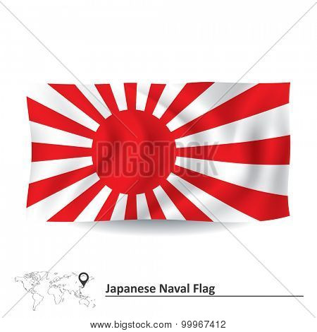 Flag of Japanese Naval Ensign - vector illustration