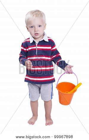Boy With Sand Pail And Small Shovel