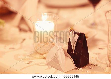 Wedding Candle On Table