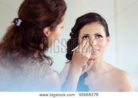 Gorgeous Bride Getting Her Make-up Done