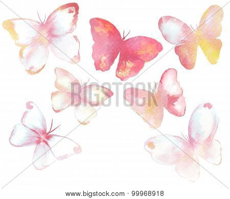 A collection of tender toned watercolour butterflies on white background