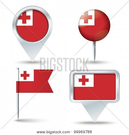 Map pins with flag of Tonga - vector illustration