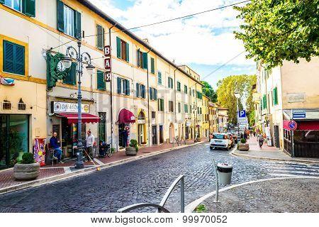 Streets and every day life of small italian city near Rome in Grottaferrata Italy