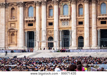 Pope Francis holds a General Audience on st. Peter's square filled with many pilgrims in Rome Italy