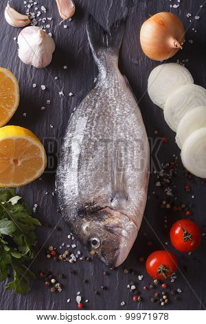 Raw Dorado Fish With Ingredients Close-up. Vertical Top View