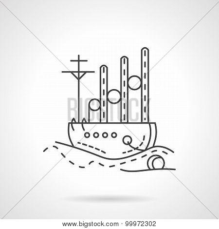 Cargo ship vector icon line style