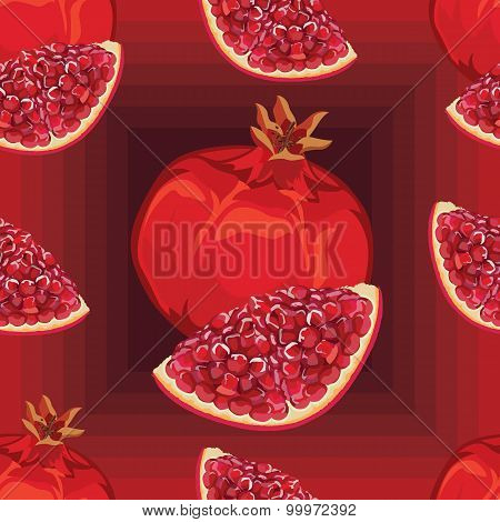seamless pattern of ripe red garnet