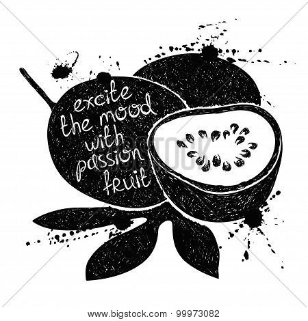 Black And White Illustration Of Passion Fruit Silhouette.