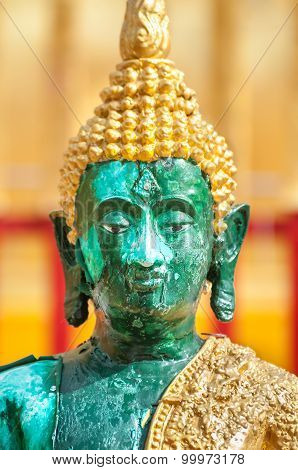 Closeup Of Green Buddha Statue At Wat Phra That Doi Suthep, Chiang Mai, Thailand