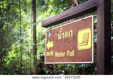 Sign Pointing The Way To Klong Plu Waterfall, Koh Chang, Thailand
