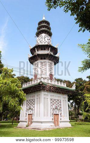 Chinese Clock Tower In Lumpini Park, Bangkok, Thailand