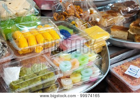 Collection Of Thai Desserts And Sweets At A Bangkok Market