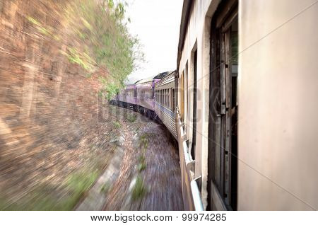 Train on the move in Thailand, with motion blur