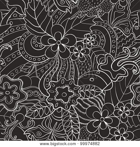 Black And White Abstract Psychedelic Seamless Pattern.