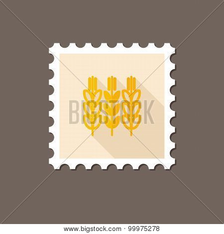 Spikelets Wheat Flat Stamp With Long Shadow