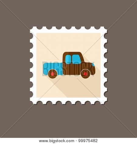 Pickup Truck Flat Stamp With Long Shadow