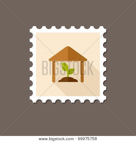 Greenhouse Flat Stamp With Long Shadow