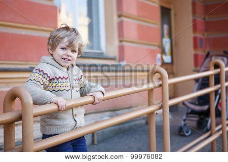Little Caucasian Toddler Boy Having Fun, Outdoors