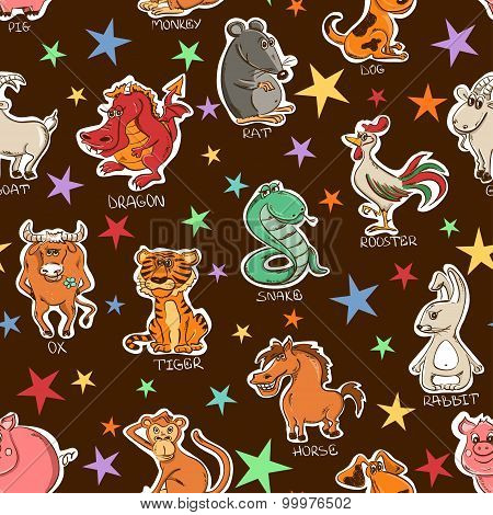 Funny Seamless Pattern Of Chinese Zodiac Animals Signs.