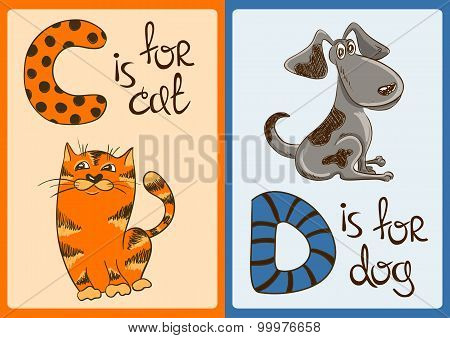 Children Alphabet With Funny Animals Cat And Dog.
