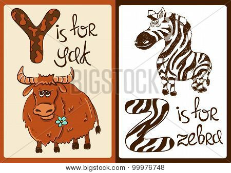 Children Alphabet With Funny Animals Yak And Zebra.