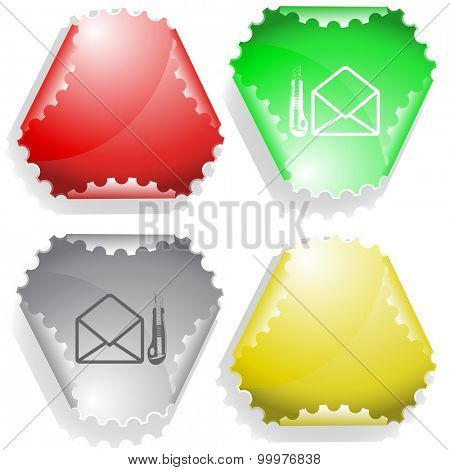 open mail with knife. Vector sticker.