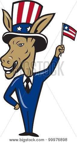 Democrat Donkey Mascot Waving Flag Cartoon