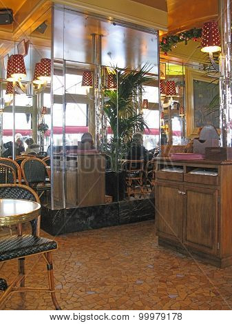 Cafe with black rattan chairs interior