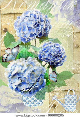 Floral Postcard With Hydrangea Flowers And Dandelion Seeds.