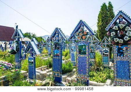 The merry cemetery of Sapanta, Maramures county, Romania.