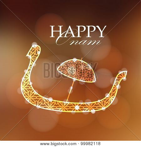 Happy Onam Card, Invitation With Decorative Silhouette Of Snake Boat