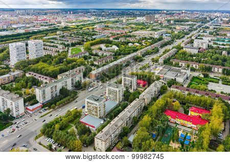 Housing area large-panel houses. Tyumen. Russia