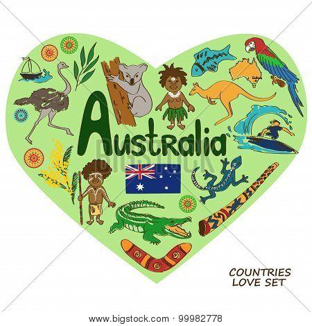 Australian Symbols In Heart Shape Concept.