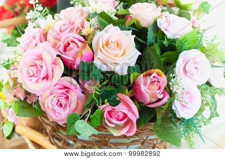 Artificial Flowers Bouquet Arrange For Decoration In Home