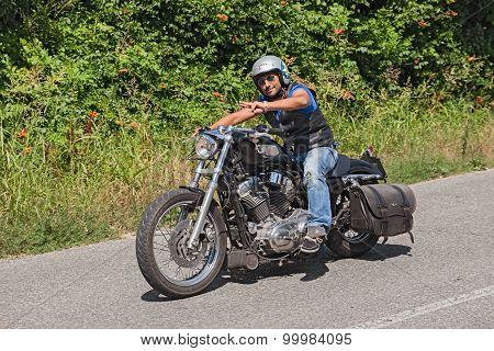 Biker Riding Harley-davidson Sportster